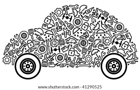 Cars spare parts and service icons in form of car - stock vector