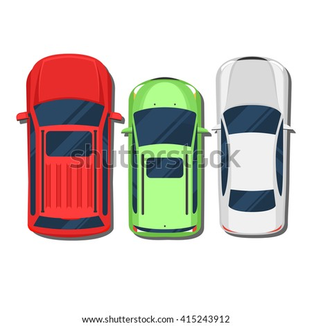 Cars top view. SUV, hatchback, wagon, sedan. Flat style color vector illustration isolated on white background for web design or print - stock vector