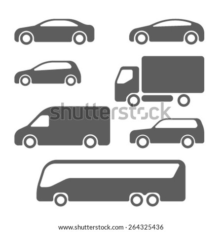 Cars, van, trucks and suv icons - stock vector