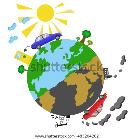 Cars with electric and petrol motors on Earth planet. Color vector illustration. Ecological concept infographics