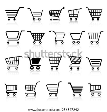 Cart Shopping Cart Web Icon Button Set - stock vector