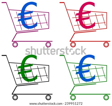 cart with euro - stock vector