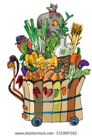 cart with vegetables and fruits - cartoon