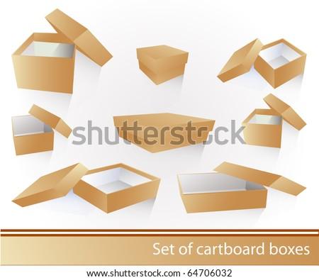 Cartboard box set - stock vector
