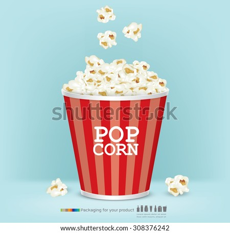 Carton bowl full of popcorn and paper glass of drink.vector - stock vector