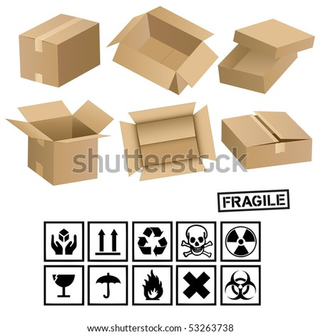 carton cargo boxes and signs - stock vector