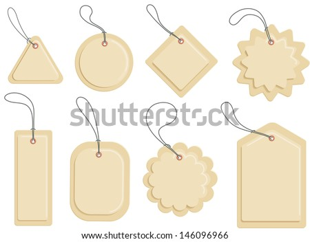 Carton labels of various shapes. Insert your text - stock vector