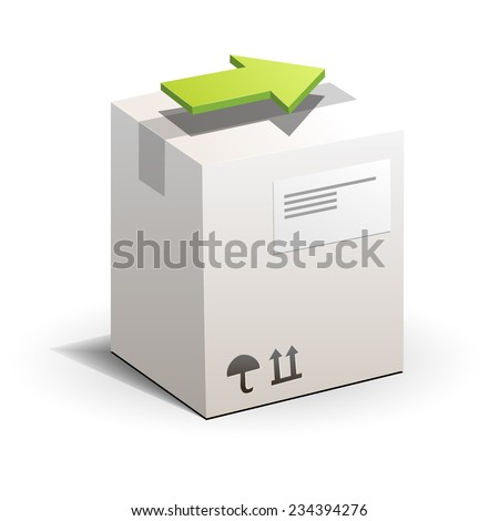Carton package box with green arrow