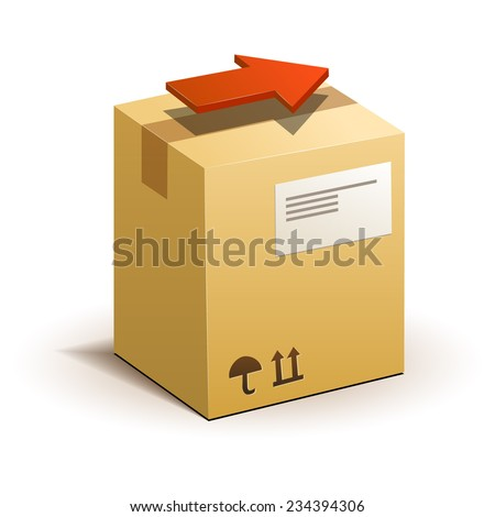 Carton package box with red arrow - stock vector
