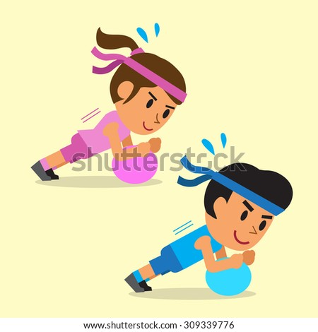 Cartoon a man and a woman doing exercise ball plank - stock vector