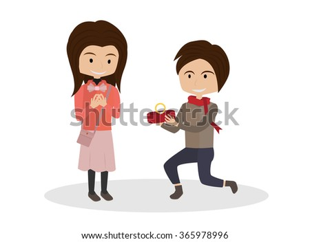 cartoon a man asked his girlfriend to marry him isolated vector - stock vector