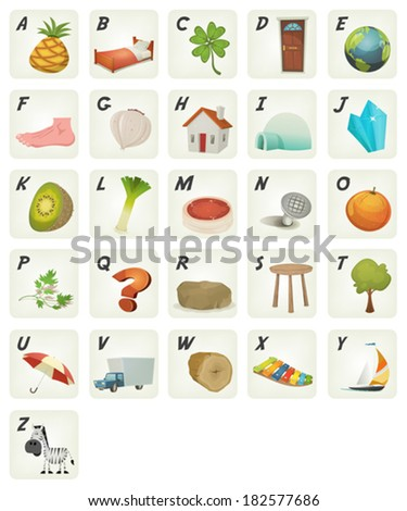 Cartoon ABC Cliparts Poster/ Illustration of a set of cute cartoon ABC letters and font characters from ananas to zebra for school and preschool kids - stock vector