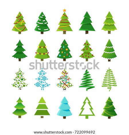 cartoon abstract christmas trees gifts balls stock vector 722099692