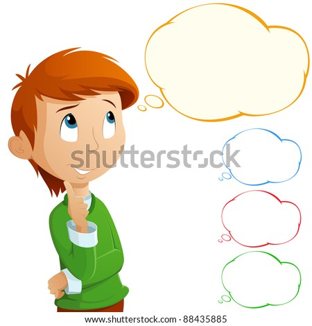 Cartoon adorable boy thinking isolated on white background. Bubbles for text. - stock vector