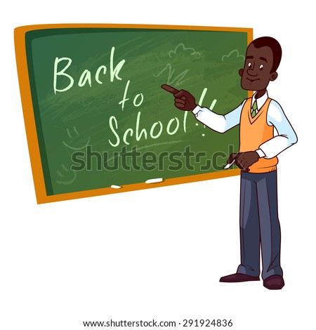 Cartoon African American teacher stands near the school board. Vector illustration on a white background. - stock vector
