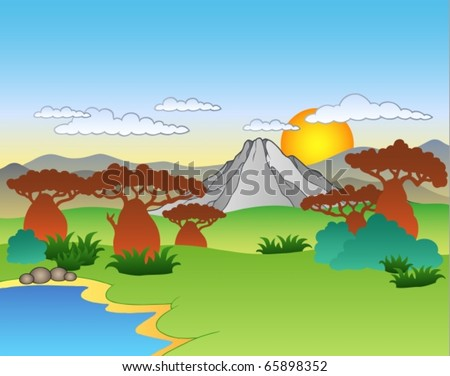 Cartoon African landscape - vector illustration. - stock vector