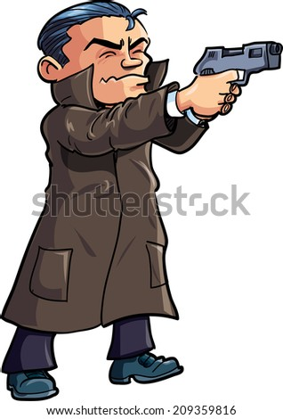 Cartoon agent in a coat with a gun. Isolated on white