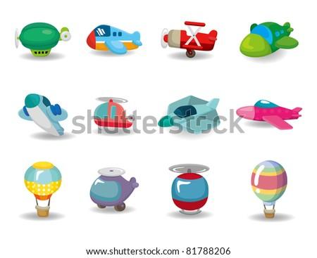 cartoon airplane icon - stock vector