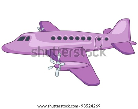 Cartoon Airplane Isolated on White Background. Vector EPS8. - stock vector