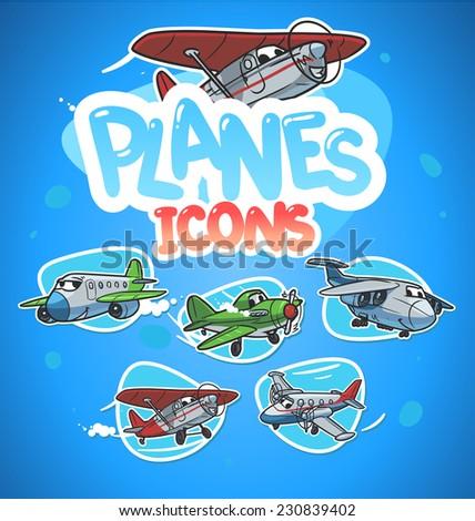cartoon airplanes icon set - stock vector