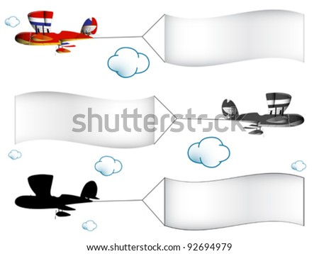 cartoon airplanes with banners in the cloudy sky, abstract vector art illustration; image contains transparency - stock vector
