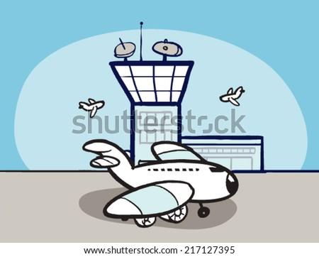 cartoon airport airplane stock vector 217127395 shutterstock rh shutterstock com cartoon airport video cartoon airport night
