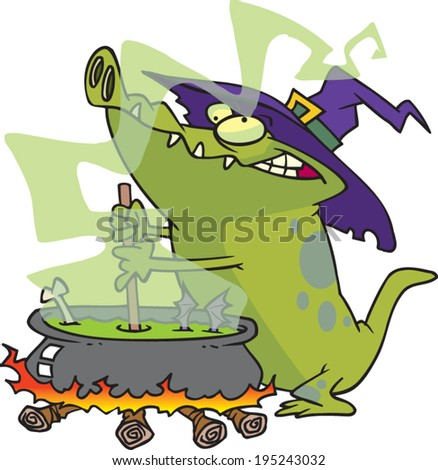 cartoon alligator stirring a cauldron