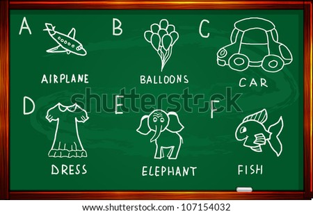 Cartoon alphabet  on a blackboard - stock vector