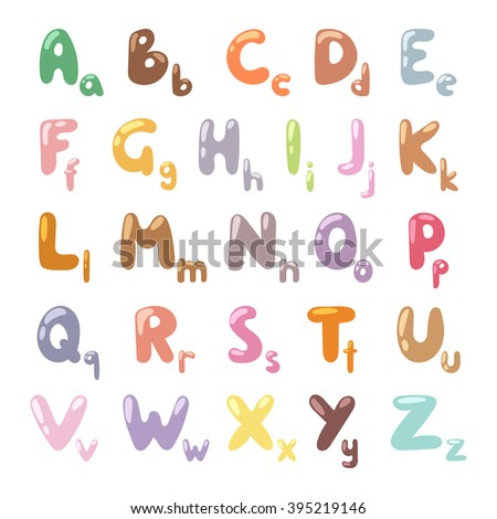 Cartoon Alphabet symbols and cartoon colorful type alphabet vector. English funny cartoon alphabet vector illustration. A,b,c,d,e,f,g,h,i,j,k,l,m,n,o,p,q,r,s,t,u,w,y,x,z letters - stock vector