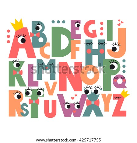 Cartoon alphabet eyes lashes on white stock photo photo vector cartoon alphabet with eyes and lashes on white background cute abc design for book cover altavistaventures Images