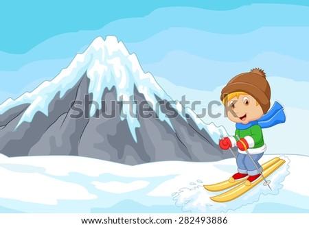 Cartoon alpine skier races extreme hill with iceberg - stock vector