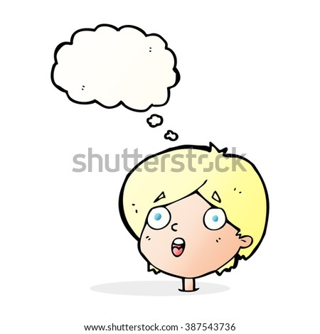 cartoon amazed expression with thought bubble - stock vector