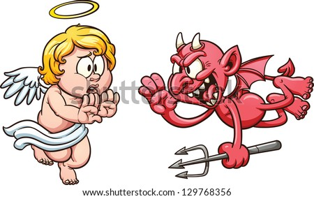Cartoon angel and devil. Vector clip art illustration with simple gradients. All in a single layer.