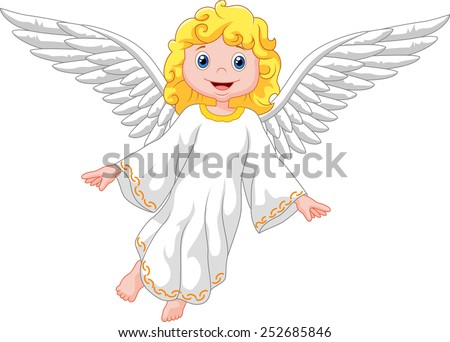 Cartoon angel isolated on white background - stock vector
