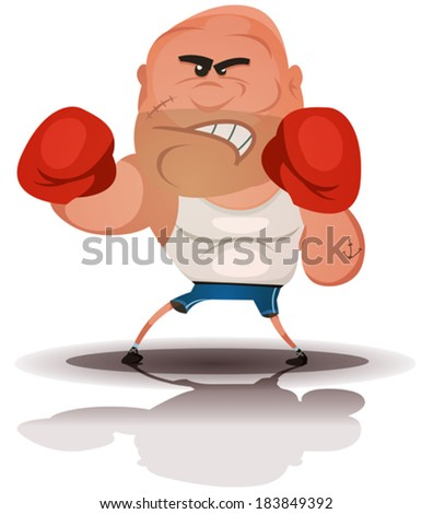 Cartoon Angry Boxer Champion/ Illustration of a cartoon champion english boxer or fight sports hard-boiled character, isolated on white background - stock vector
