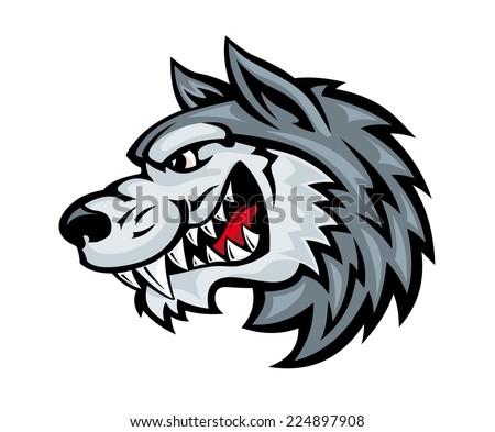 Cartoon Angry Wolf Head Isolated On Stock Vector 224897908 ...