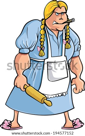 Cartoon angry woman with rolling pin. Isolated - stock vector