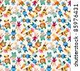 cartoon animal chef seamless pattern - stock photo