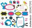 Cartoon animal elements scrapbook set - stock vector