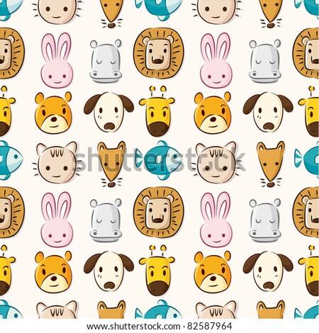 Cartoon animal head seamless pattern - stock vector