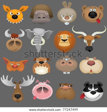Cartoon animal heads icon set - stock vector