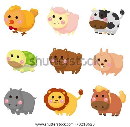cartoon animal icon set - stock vector