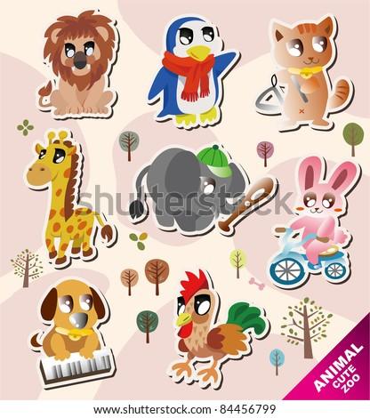 cartoon animal icons - stock vector