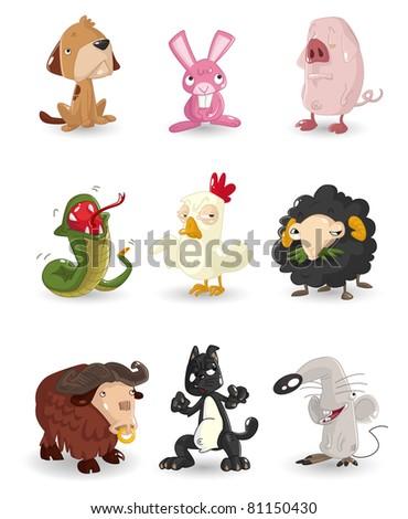 cartoon animal icons set - stock vector