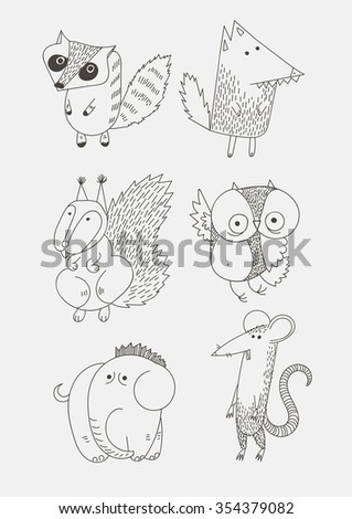 Cartoon animal icons. Vector image on white background - stock vector