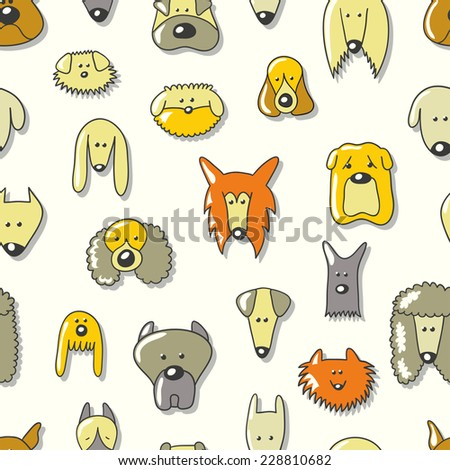 Cartoon animal seamless vector pattern of dog breed. Endless texture can be used for printing onto fabric, web page background, pattern fills, surface textures and paper or invitation.  - stock vector