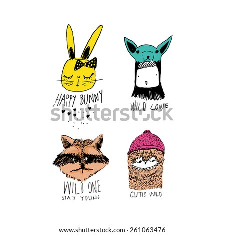 cartoon animal set - stock vector