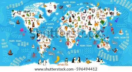 Cartoon animal world map animals all stock vector 596494412 cartoon animal world map animals from all over the worldoceans and continents gumiabroncs Choice Image