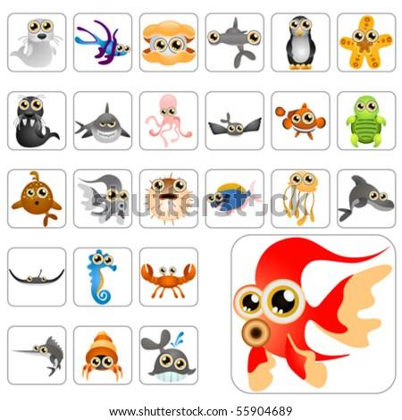 cartoon animals big set 1 - stock vector