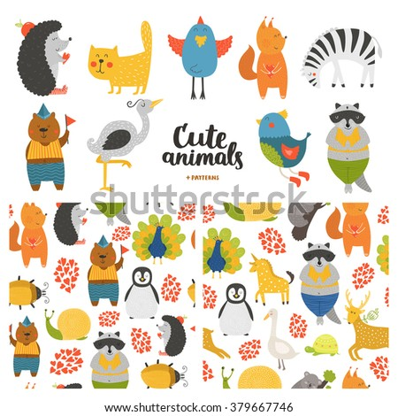 Cartoon animals collection and seamless patterns. Vector cute cat, bear, bird, raccoon, hedgehog, heron, zebra, squirrel isolated on white background, baby animals in love - stock vector